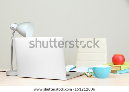 Home workplace with computer, close up - stock photo