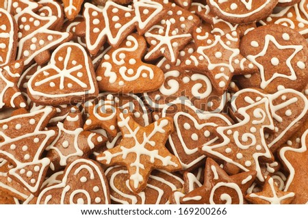 Homebaked Christmas Gingerbread Cookies - stock photo