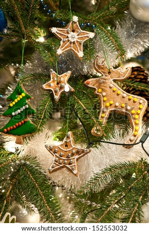 Homebaked gingerbread cookies on a Christmas Tree - stock photo