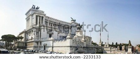 Homeland's Altar, also called Victor Emmanuel II monument, is an enourmus building in Piazza Venezia, Rome, Italy - stock photo