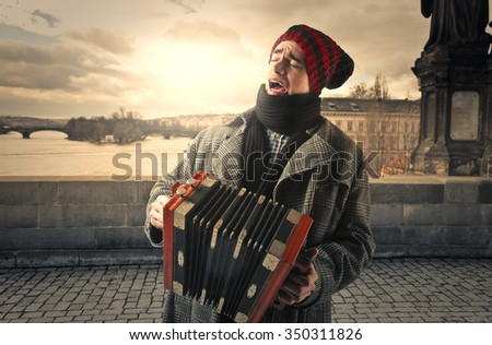 Homeless artist - stock photo