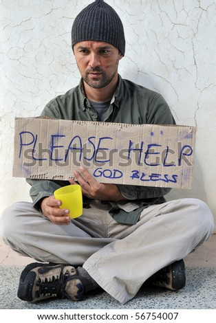 Homeless asking for help - a series of HOMELESS images. - stock photo