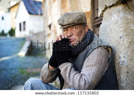 Homeless in the street - stock photo