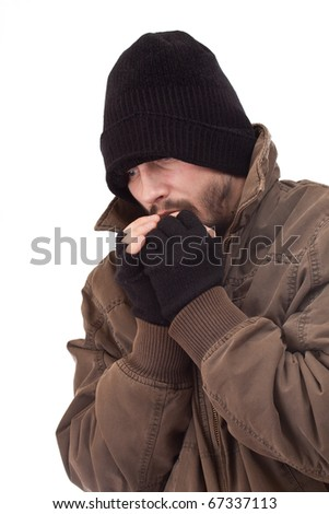 Homeless man be cold, isolated on white background - stock photo