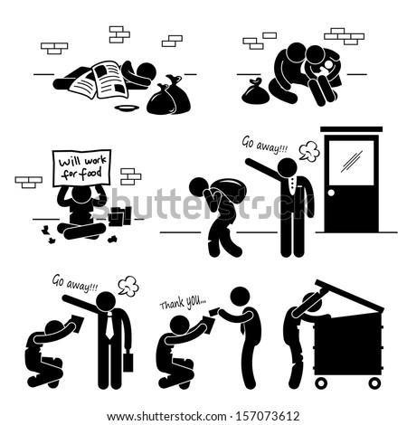 Homeless Man Family Beggar Tramp Hobo Jobless Stick Figure Pictogram Icon - stock photo