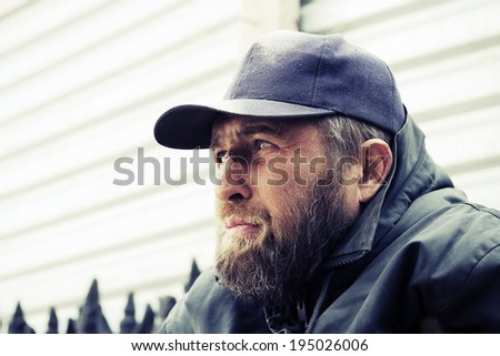 Homeless man in depression  - stock photo