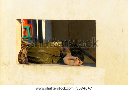 homeless person - stock photo