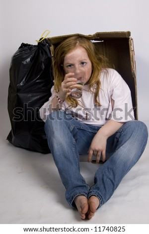 homeless thirsty girl - stock photo