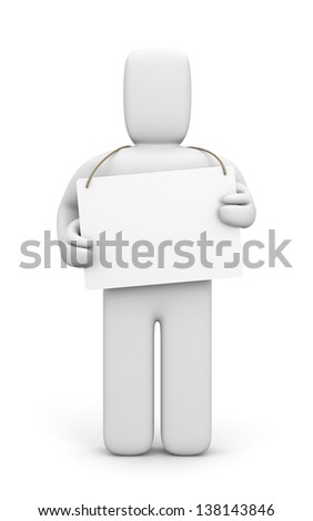 Homeless with white board - stock photo