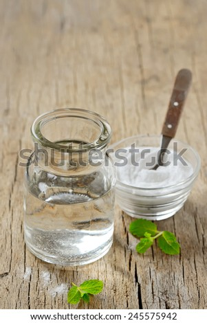 Homemade All Natural Peppermint and  Bicarboante Mouthwash - stock photo