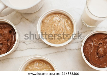 homemade almond butter and milk - stock photo