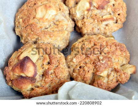 homemade apple and cinnamon bread close up background  - stock photo