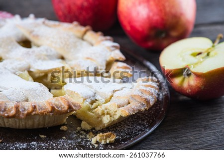 homemade apple pie and fresh fruits - stock photo