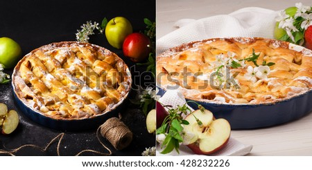 Homemade apple pie on a white wooden background.