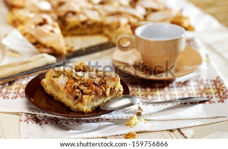 Homemade apple pie with cinnamon and roasted sunflower seeds - stock photo