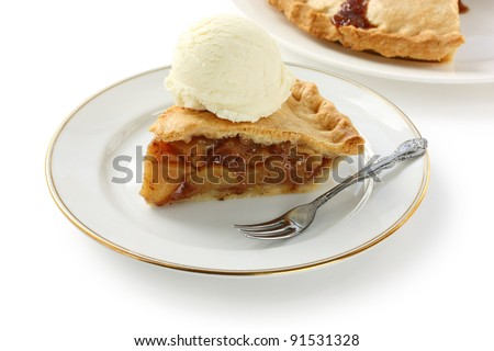 homemade apple pie with ice cream - stock photo