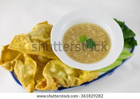 Homemade Asian dumpling with sauce - stock photo
