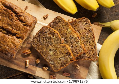 Homemade Banana Nut Bread Cut into Slices - stock photo