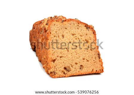 homemade banana nut bread isolated white background