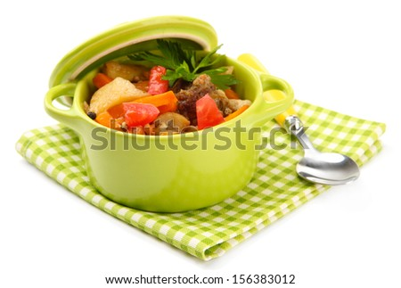 Homemade beef stir fry with vegetables in color pan, isolated on white - stock photo
