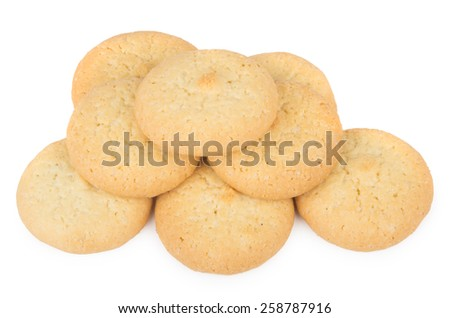 Homemade biscuits isolated on white background. Top view - stock photo