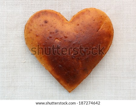 Homemade bread in the shape of heart - stock photo