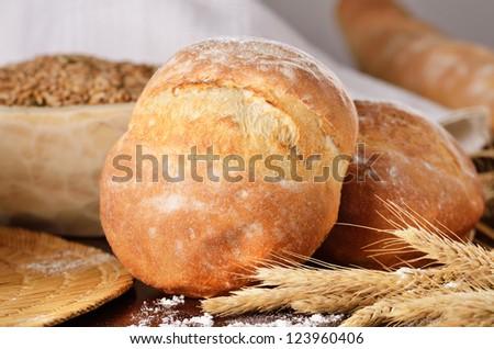 Homemade bread scene - stock photo