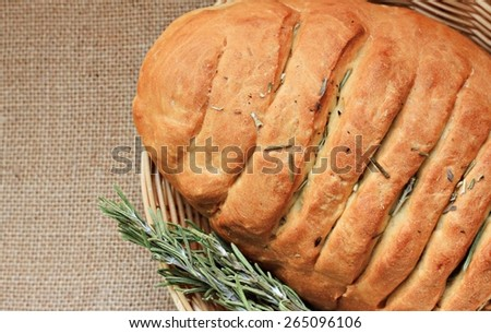 homemade bread with herbs - stock photo