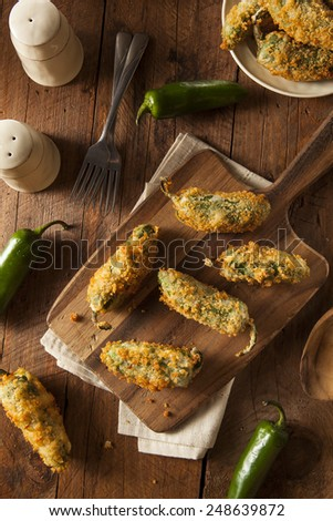 Homemade Breaded Jalapeno Poppers with Cream Cheese - stock photo