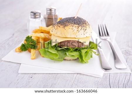 homemade burger - stock photo