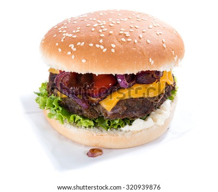 Homemade Burger with cheese isolated on white background