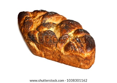 homemade challah isolated on white background