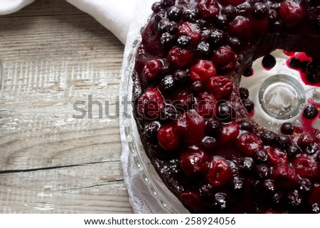 Homemade cherry and black currant pie. - stock photo