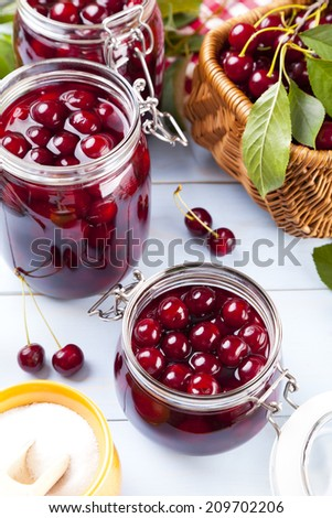 Homemade cherry compote - stock photo