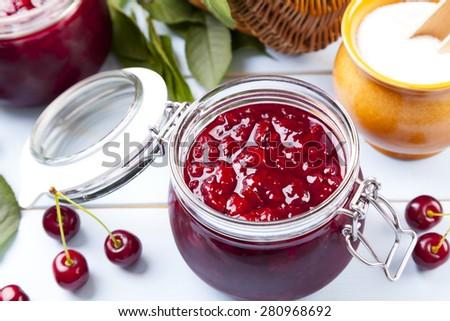 Homemade cherry jam - stock photo
