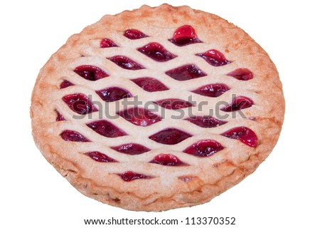 Homemade cherry pie with lattice pattern on top