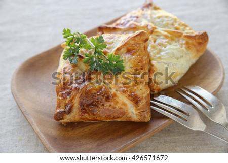 Homemade chicken puff pie, selective focus - stock photo