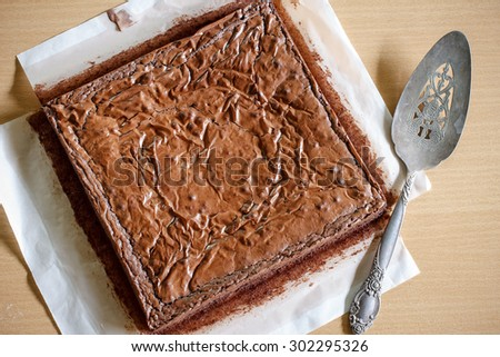 homemade chocolate brownie hot from oven, - stock photo