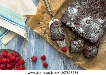 Homemade chocolate brownies with raspberries - stock photo