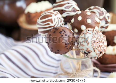 Homemade chocolate cake pops - candy sticks - stock photo