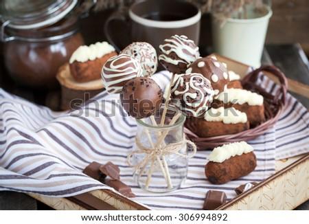 Homemade chocolate cake pops - candy sticks - stock photo