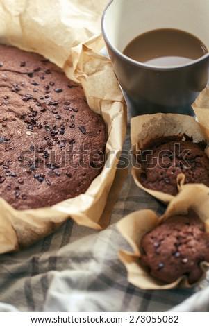 Homemade chocolate cakes - stock photo