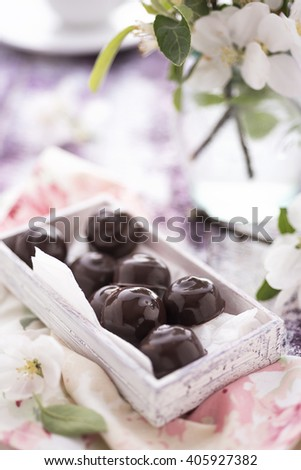 Homemade chocolate candies with spring blossoms - stock photo