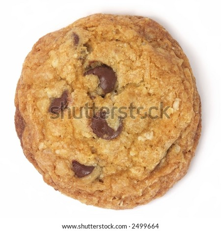 Homemade chocolate chip cookie isolated on white. - stock photo