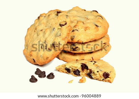 homemade chocolate chip cookies isolated on white background - stock photo
