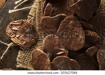 Homemade Chocolate Covered Potato Chips on a Background - stock photo