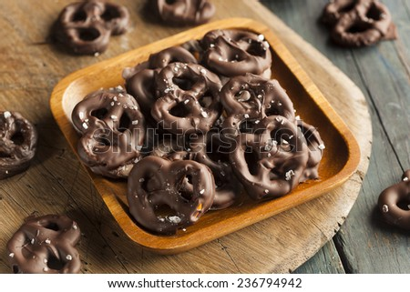 Homemade Chocolate Covered Pretzels with Sea Salt - stock photo