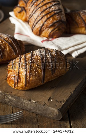Homemade Chocolate Croissant Pastry with Powdered Sugar - stock photo