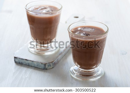 Homemade chocolate egg cream, beverage with milk, soda water and chocolate syrup - stock photo