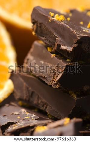 Homemade chocolate with orange - stock photo
